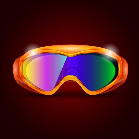 Ski sport goggles vector illustration