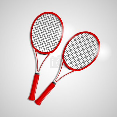 Red tennis rackets over gray background