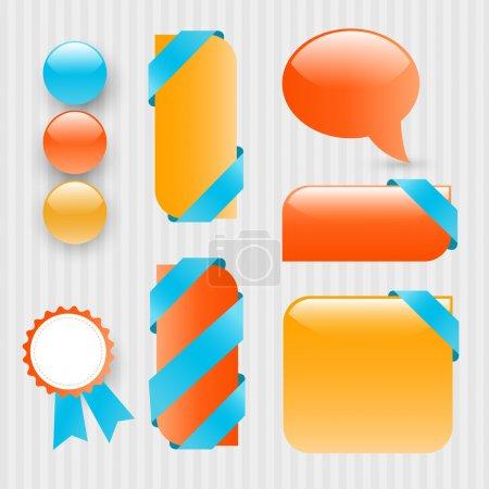 Illustration for Buttons set vector illustration - Royalty Free Image