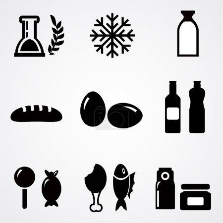 Lebensmittel-Ikonen. Vektorillustration