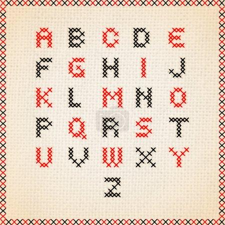 Cross stitch vector alphabet