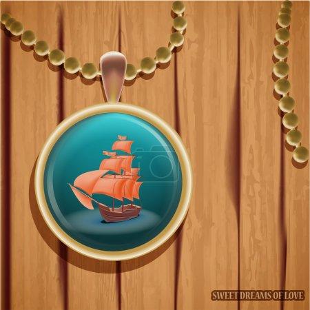Illustration pour Pendentif avec illustration bateau - image libre de droit