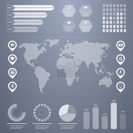 Illustration pour Kit infographie rétro. Carte du monde et graphiques d'information - image libre de droit