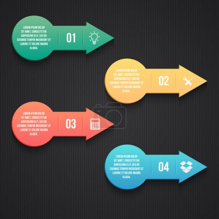 Steps process arrows. vector illustration