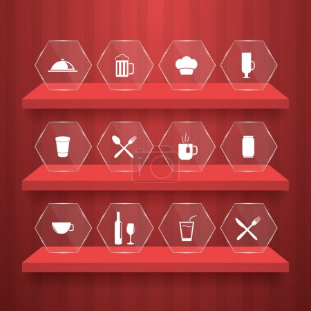 Illustration pour Icônes alimentaires Illustration vectorielle - image libre de droit