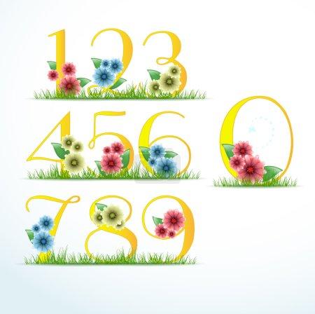 Illustration pour Ensemble de chiffres dans le style floral - image libre de droit
