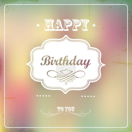 Illustration pour Vintage rétro carte d'anniversaire heureux - image libre de droit