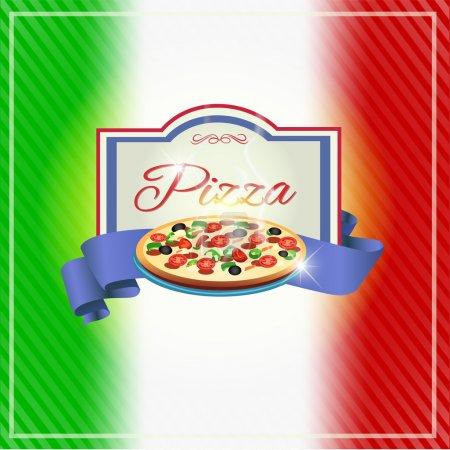 Illustration pour Illustration vectorielle de conception d'étiquette de pizzeria - image libre de droit