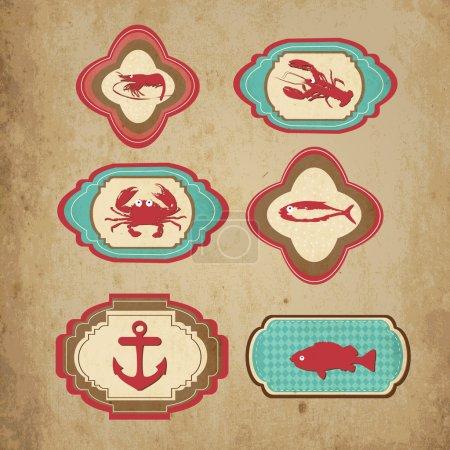 Sea retro icons. Vector