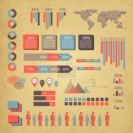 Retro-Infografik Set. Weltkarte und Informationsgrafik