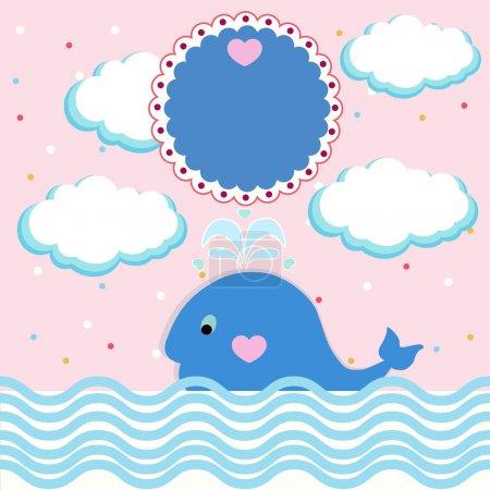 Carte d'été avec petite baleine