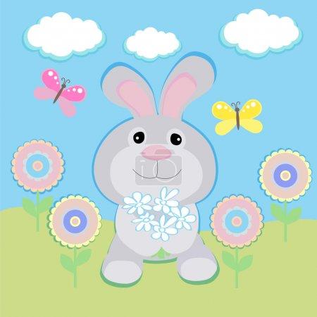Photo pour Carte de vœux vectorielle avec lapin - image libre de droit