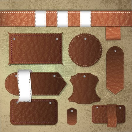 Leather labels collection. vector illustration