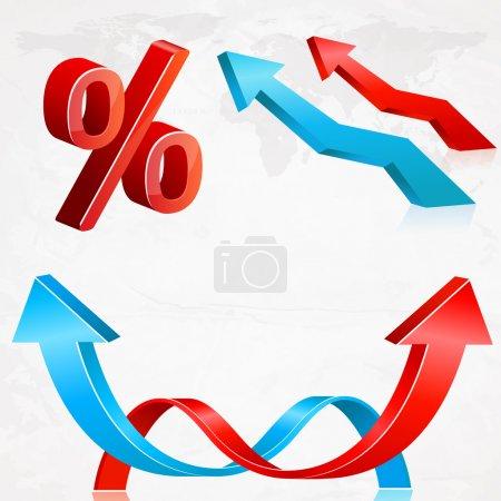 Vector set of arrows and percent.