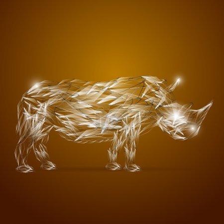 Illustration pour Rhinocéros en verre abstrait, illustration vectorielle - image libre de droit