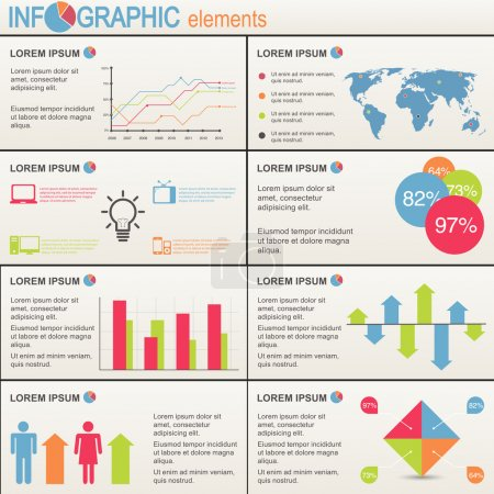 Set of infographics elements. World Map and Information Graphics