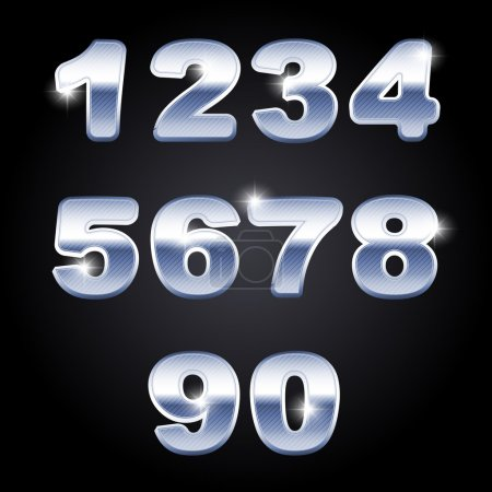 Number from 0 to 9 in chrome over white background
