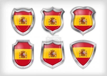 Illustration pour Drapeau Espagne sur métal brillant vecteur de bouclier - image libre de droit