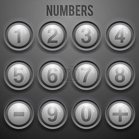 Illustration pour Ensemble vectoriel de boutons numériques - image libre de droit