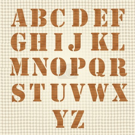 Illustration pour Alphabet en bois Old Grunge, ensemble vectoriel - image libre de droit