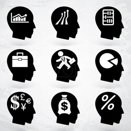 Illustration pour Ensemble d'étiquettes vectorielles tête cerveau - image libre de droit