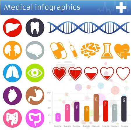 Illustration pour Icônes et symboles médicaux ensemble vectoriel isolé sur blanc - image libre de droit