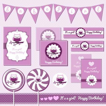 Baby Girl greeting cards with owl