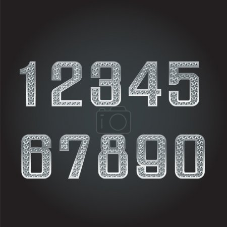 Illustration pour Nombres vectoriels argent avec diamant - image libre de droit