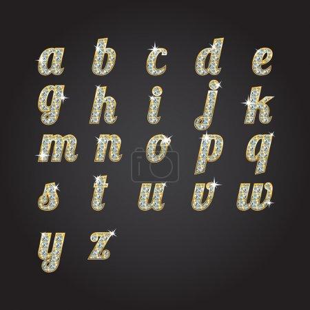 Illustration pour Alphabet vectoriel doré avec diamants - image libre de droit