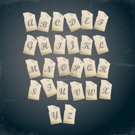 alphabet on paper, vector illustration