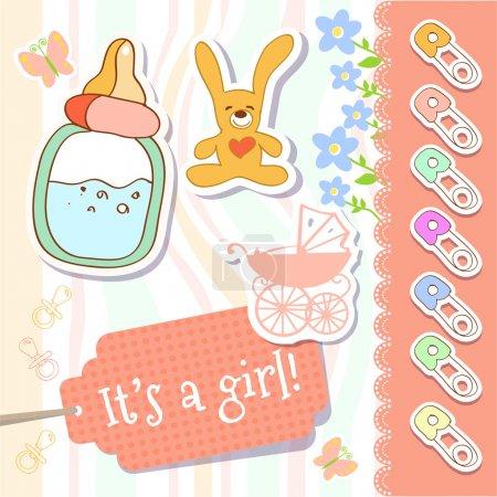 Vector baby girl greeting card