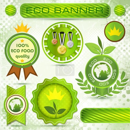 Etiquetas ecológicas con diseño retro vintage .