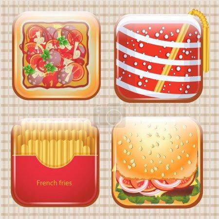 Illustration pour Ensemble d'icônes alimentaires, illustration vectorielle - image libre de droit