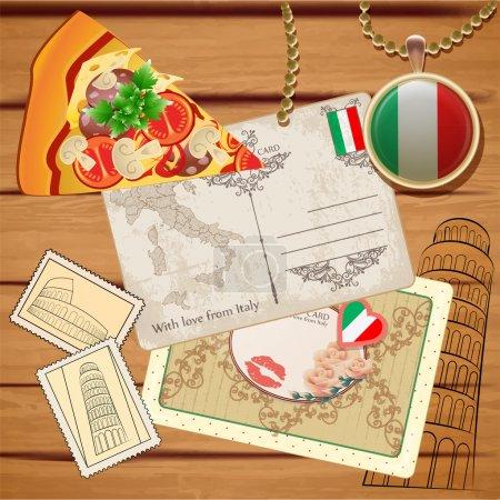 Conjunto vectorial de viajes a Italia
