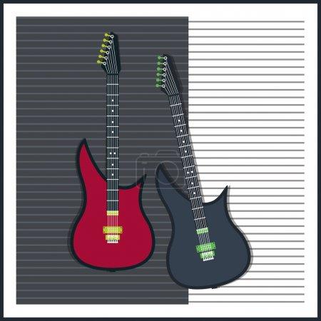 Illustration pour Fond vectoriel avec guitare électrique - image libre de droit