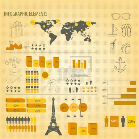 Illustration for Retro infographics set., vector illustration - Royalty Free Image