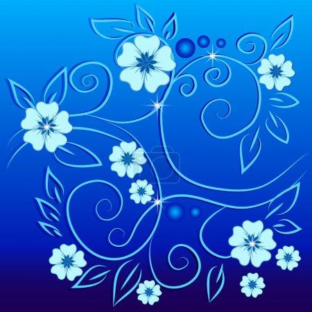 Vintage flowers on a blue background
