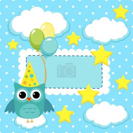Illustration pour Hibou avec des boules sur un fond bleu - image libre de droit