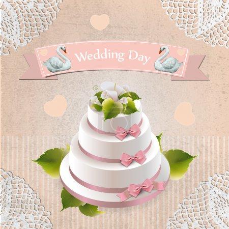 Illustration pour Gâteau de mariage, illustration vectorielle - image libre de droit