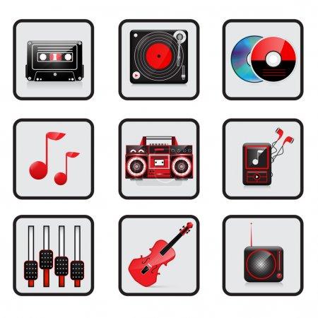 Illustration pour Musique, jeu d'icônes audio. Vecteur - image libre de droit