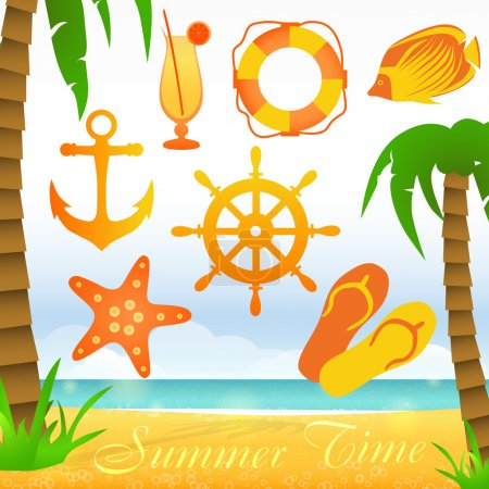Summer time vector collection elements