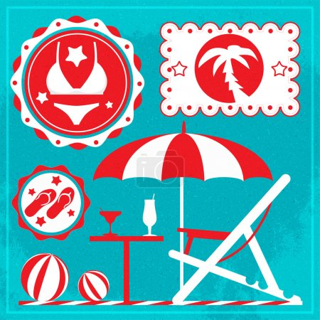 Illustration for Summer holiday icons. Vector - Royalty Free Image