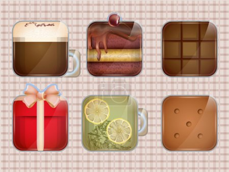 Food and drinks icon set. Vector