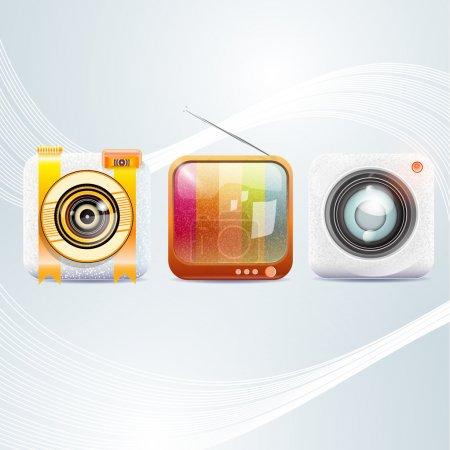 Illustration pour Icônes de menu de téléphone, illustration vectorielle - image libre de droit