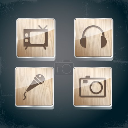 Set of photo, video and musical icons