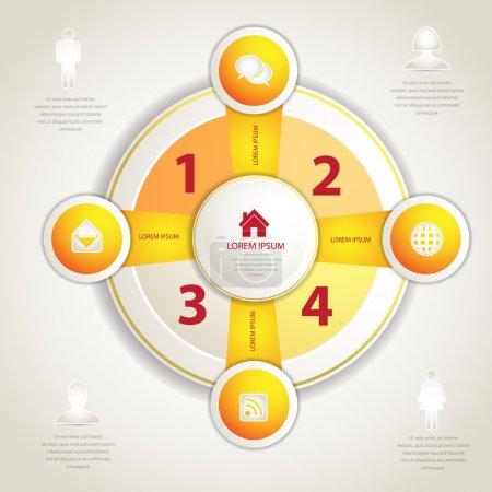 Illustration for Four business steps, vector illustration - Royalty Free Image