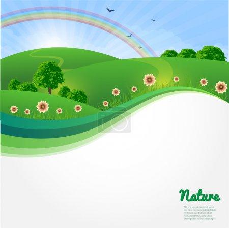 Summer sunny landscape. Nature vector