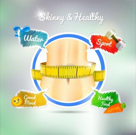 Illustration pour Concept de santé : sport, eau, bonne humeur, alimentation saine. Vecteur - image libre de droit