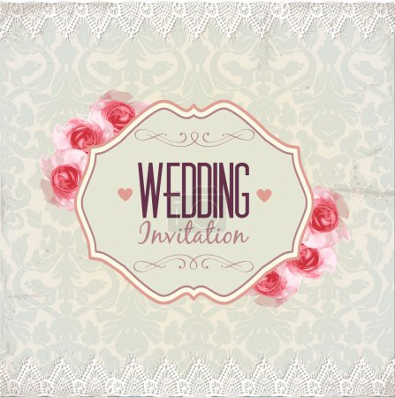 Photo for Wedding invitation. Vintage lace vector design. - Royalty Free Image