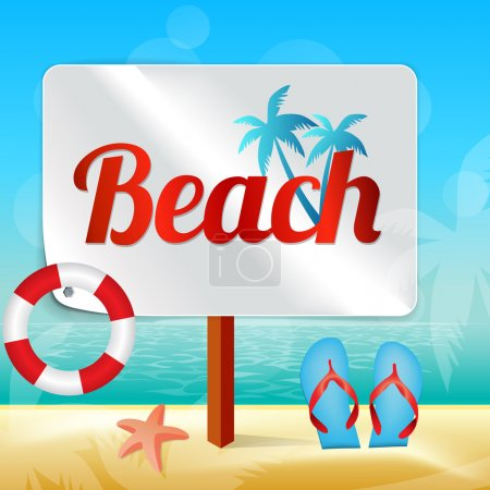 Illustration for Wood sign in the beach - Royalty Free Image